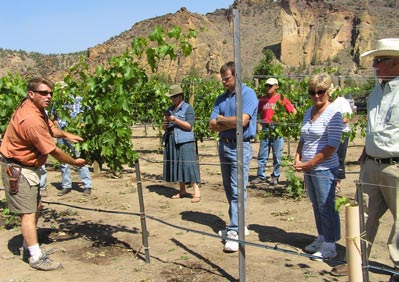 Kerry Damon, vitivulturist at the Ranch at the Canyons, describes some of his grape growing techniques at a workshop sponsored by OSU Extension Service. Photo by Dana Martin